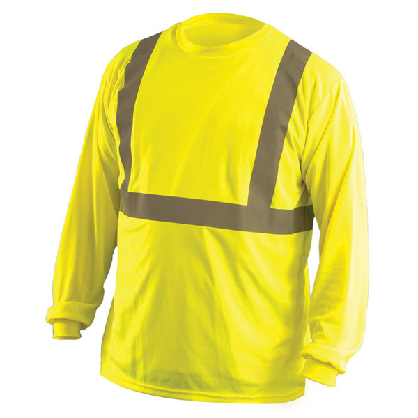 Occunomix Class 2 Hi Vis Moisture Wicking Birdseye Long Sleeve T Shirt LUX-LSET2B Yellow Front