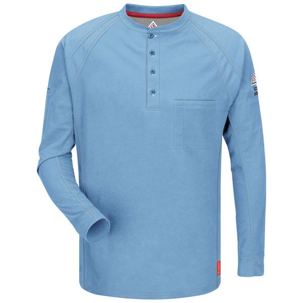 Bulwark FR iQ Series Comfort Long Sleeve Henley QT20 Light Blue Front