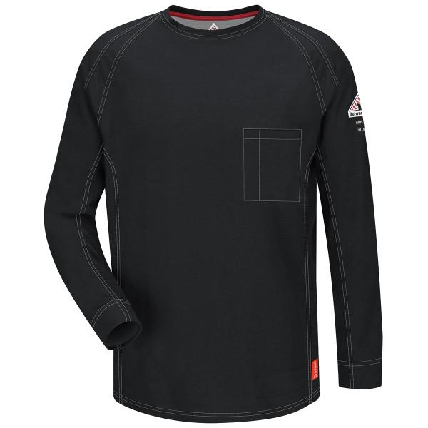 Bulwark FR iQ Series Comfort Knit Long Sleeve T-Shirt QT32 Black Front