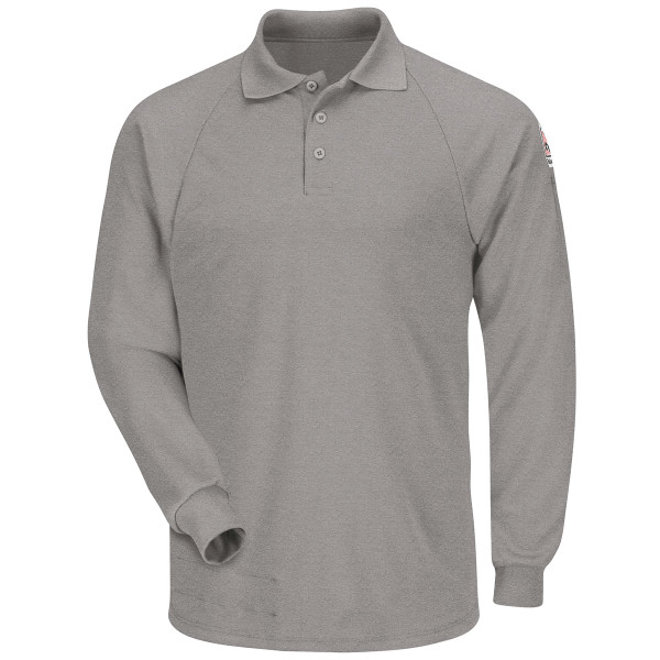 Bulwark FR Cooltouch 2 Long Sleeve Polo Shirt SMP2 Gray Front