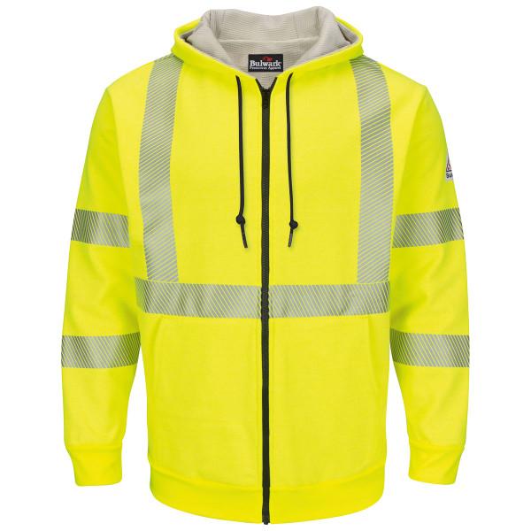 Bulwark FR Class 3 Hi Vis Zip-Up Hooded Fleece Sweatshirt SMZ4HV