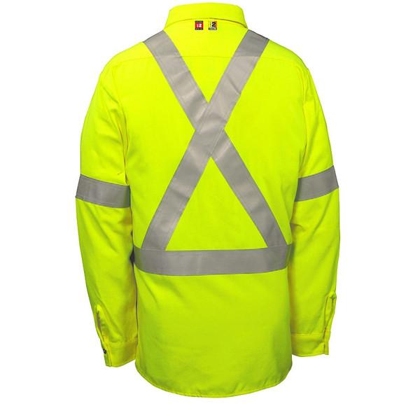 Big Bill FR Class 2 Hi Vis X-Back Dress Shirt 148BDTY7 Yellow Back