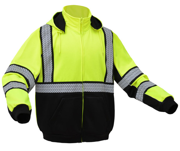 GSS Class 3 Hi Vis Lime Zip Up Hooded Sweatshirt 7511 Right