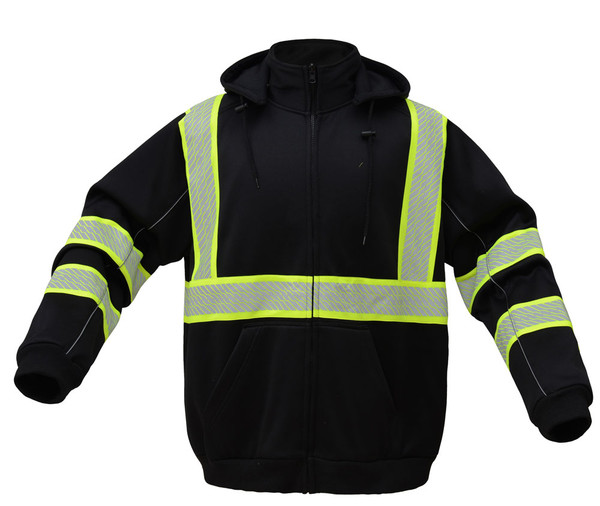 GSS Enhanced Visibility Black Premium ONYX Zip Up Hooded Sweatshirt 7513 Front
