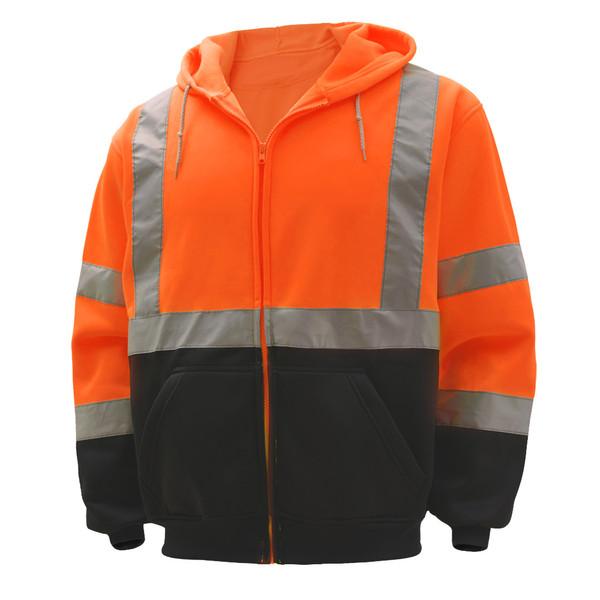 GSS Class 3 Hi Vis Orange Fleece Hooded Sweatshirt with Zipper and Black Bottom 7004 Right Side