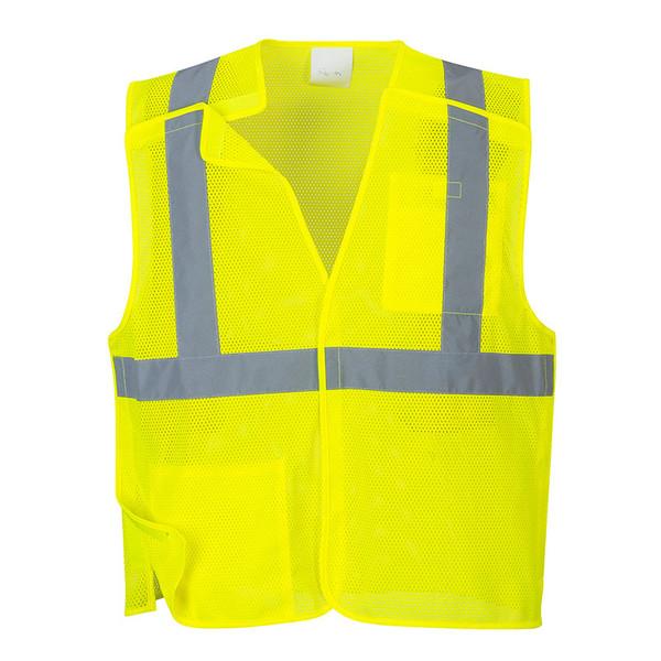 PortWest Class 2 Hi Vis Yellow Economy Mesh Break-Away Vest US384 Front