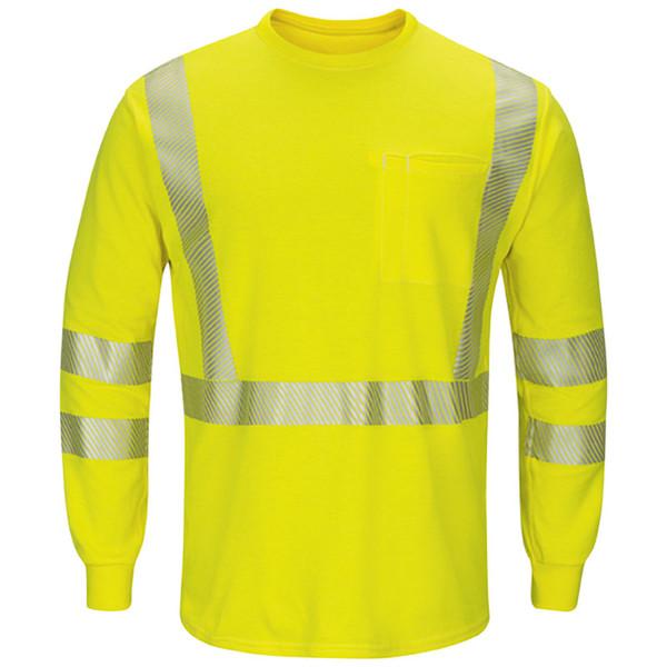 Bulwark FR Class 3 Hi Vis Yellow Long Sleeve T-Shirt with Segmented Tape SMK8HV Front