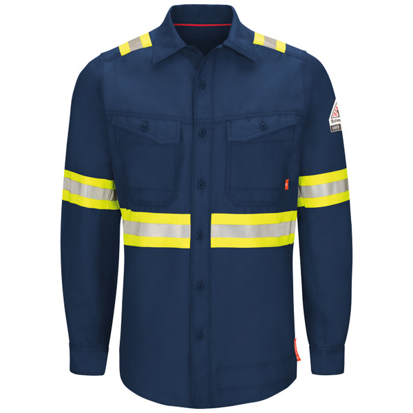 Bulwark FR iQ Endurance Enhanced Visibility Navy Work Shirt QS40NE Front