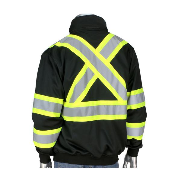 PIP Class 1 Enhanced Visibility Black X-Back Two-Tone Full Zip Fleece Sweatshirt 323-1475X-BK Back