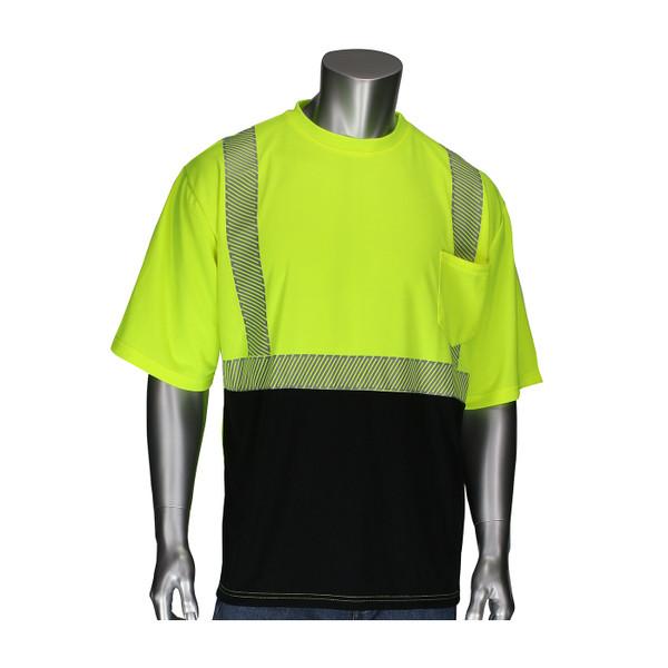 PIP Class 2 Hi Vis Yellow Black Bottom Moisture Wicking T-Shirt with Segmented Tape 312-1275B Front