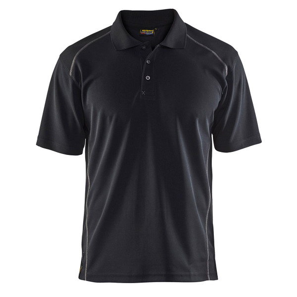 Blaklader Moisture Wicking Short Sleeve Black Polo Shirt with UPF 40 Protection 345110519900 Front