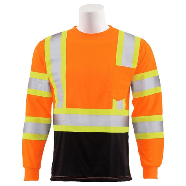 ERB Class 3 Hi Vis Orange Two-Tone Black Bottom Moisture Wicking Long Sleeve T-Shirt 9802SBC-O Front