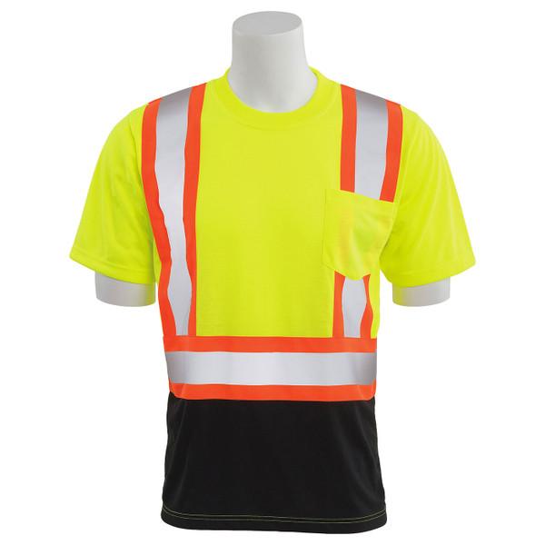 ERB Class 2 Hi Vis Lime Two-Tone Black Bottom Moisture Wicking T-Shirt 9604SBC-L Front