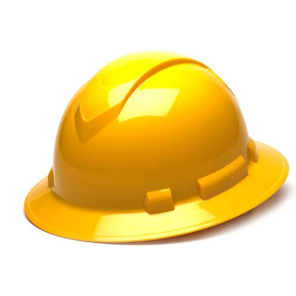 Box of 12 Pyramex Yellow Ridgeline Full Brim 6-Point Ratchet Hard Hats HP56130 Front Angled