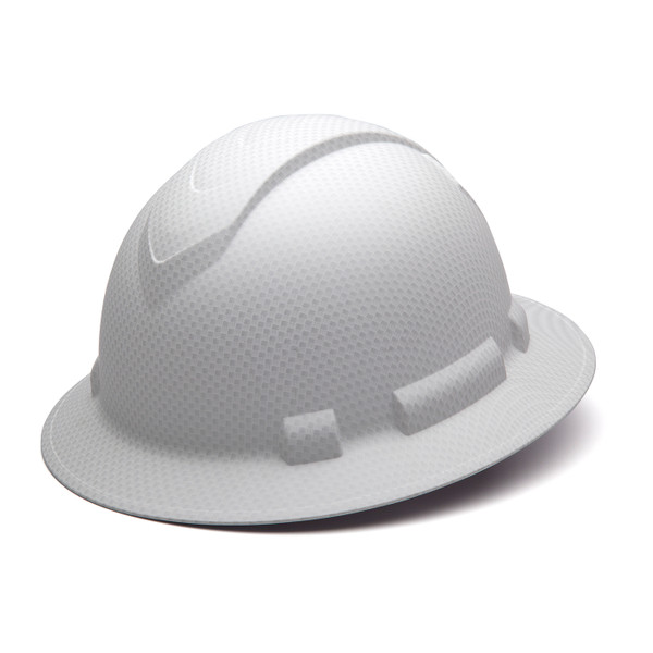 Box of 12 Pyramex Ridgeline Full Brim 4-Point Ratchet Hydro Dipped Hard Hats HP54116 Matte White Front Angled