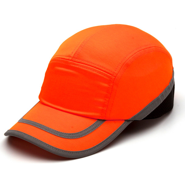 Box of 12 Pyramex Hi Vis Orange Baseball Bump Caps HP50041 Side