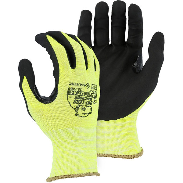 Case of 120 Pair Majestic A4 Cut Level Hi Vis Watchdog Gloves with Foam Nitrile Palm Coating 35-7466