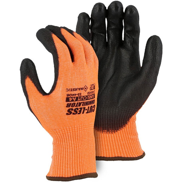 Box of 12 Pair Majestic A4 Cut Level Hi Vis Orange Annihilator Seamsless Gloves with PU Palm 33-4406