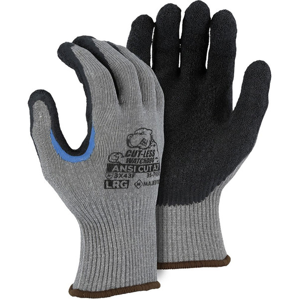 Box of 12 Pair Majestic A7 Cut Level Watchdog Gloves with Crinkle Latex Palm 35-7650