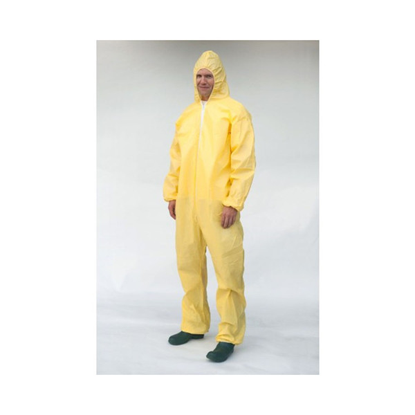 Case of 25 Sunrise SunShield Bound Seam Yellow Disposable Coverall S5428B
