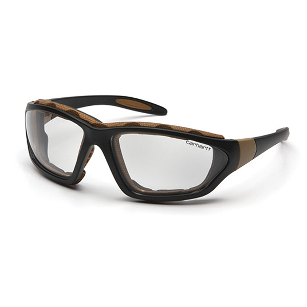 Carhartt Box of 12 Carthage Black-Tan Frame Anti Fog Clear Lens Safety Glasses CHB410DTP