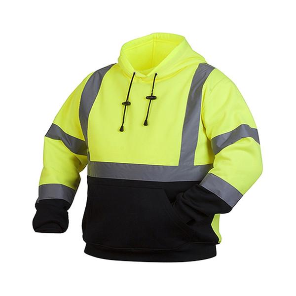 Pyramex Class 3 Hi Vis Hooded Sweatshirt with Black Bottom RSSH3210