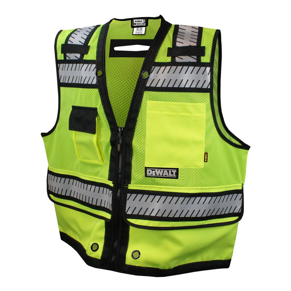 DeWALT Class 2 Hi Vis Green Heavy Duty Surveyor Vest with Black Bottom Trim DSV521 Front