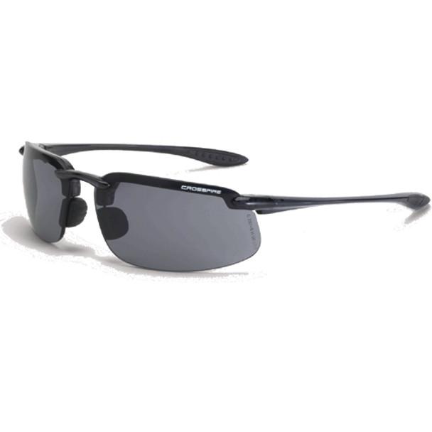 Crossfire ES4 Crystal Black Half-Frame Smoke Lens Safety Sunglasses 2141 - Box of 12