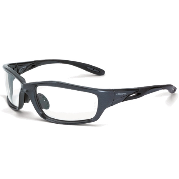 Crossfire Infinity Shiny Pearl Gray Frame Clear Lens Safety Glasses 224 - Box of 12