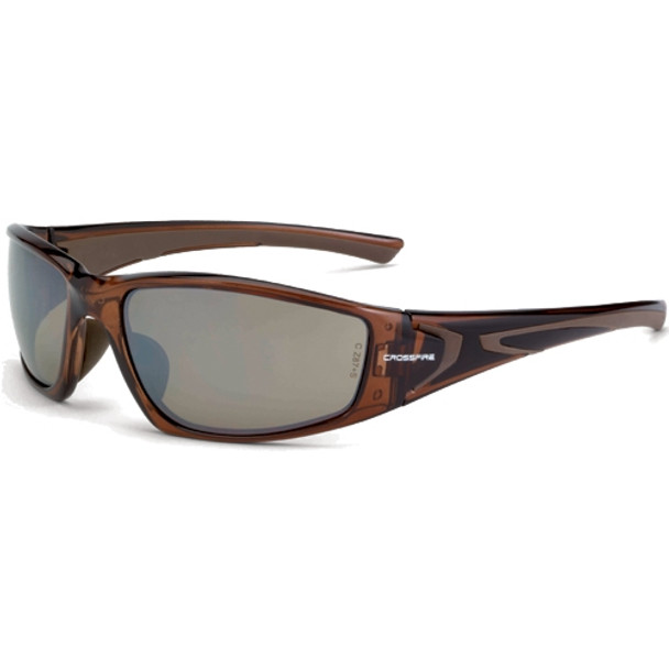 Crossfire RPG Crystal Brown Frame HD Brown Flash Mirror Lens Safety Glasses 23117 - Box of 12