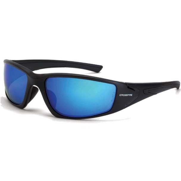 Crossfire RPG Matte Black Frame Blue Mirror Polarized Lens Safety Sun Glasses 23226 - Box of 12
