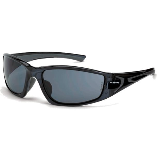 Crossfire RPG Crystal Black Full Frame Smoke Lens Safety Glasses 23421 - Box of 12