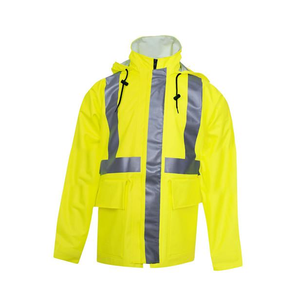 NSA FR Class 2 Hi Vis Yellow Arc H2O Made in USA Rain Jacket R30RL05