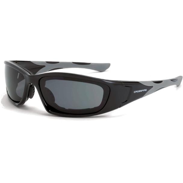 Crossfire MP7 Shiny Black Frame Anti-Fog Dark Smoke Lens Safety Glasses 2461AF - Box of 12