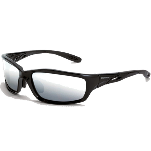 Crossfire Infinity Shiny Black Frame Silver Mirror Lens Safety Glasses 263 - Box of 12