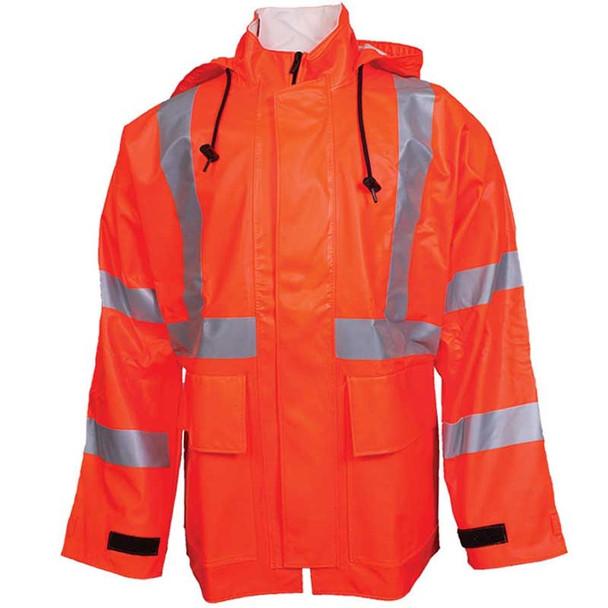 NSA FR Class 3 Hi Vis Orange Arc H2O Made in USA Rain Jacket R30RQ06
