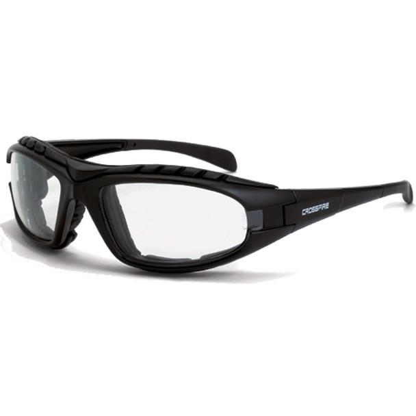 Crossfire Diamondback Foam Lined Matte Black Full Frame Clear Lens Safety Glasses 2724AF - Box of 12