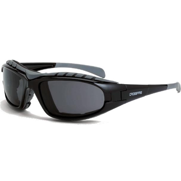 Crossfire Diamondback Foam Lined Shiny Black Full Frame Smoke Lens Safety Glasses 2761AF - Box of 12