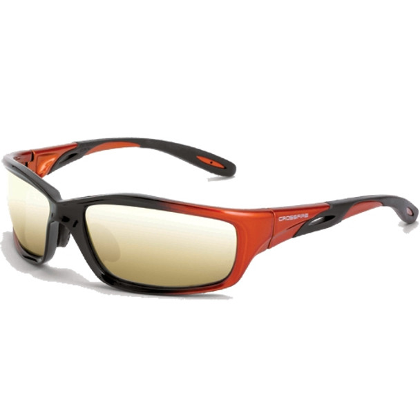 Crossfire Infinity Orange Black Full Frame Gold Mirror Lens Safety Glasses 2812 - Box of 12