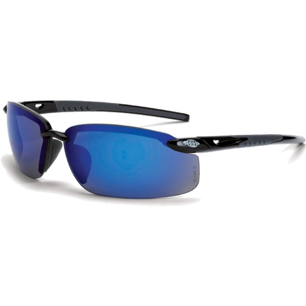 Crossfire ES5 Shiny Black Half-Frame Blue Mirror Lens Safety Glasses 2968 - Box of 12