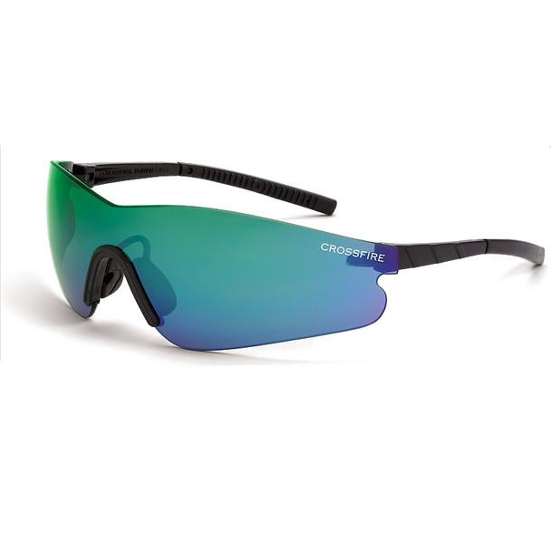Crossfire Blade Black Frameless Emerald Mirror Lens Safety Glasses 30210 - Box of 12
