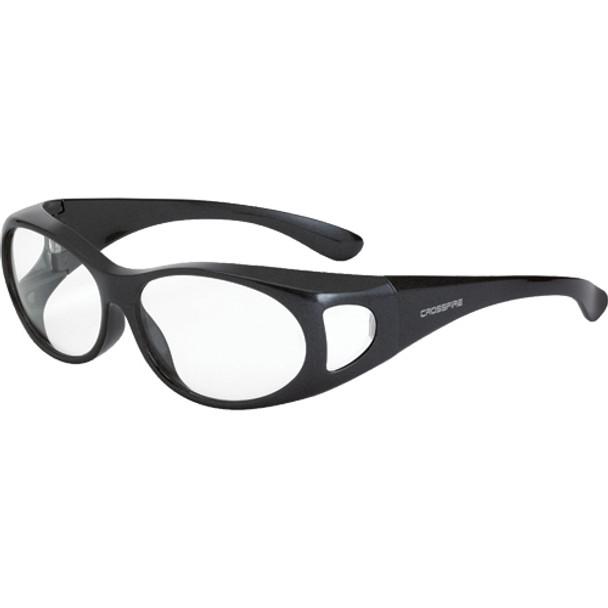 Crossfire OG3 Shiny Pearl Gray Full Frame Clear Lens OTG Safety Glasses 3114- Box of 12