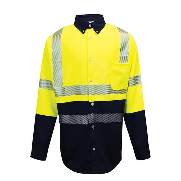 NSA FR Class 3 Hi Vis Hybrid Button Down Dual Hazard Work Shirt SHRTV3C3YN