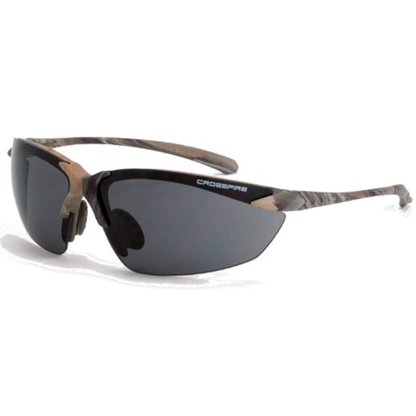 Crossfire Sniper Woodland Camo Half-Frame Smoke Lens Safety Glasses 9141 - Box of 12