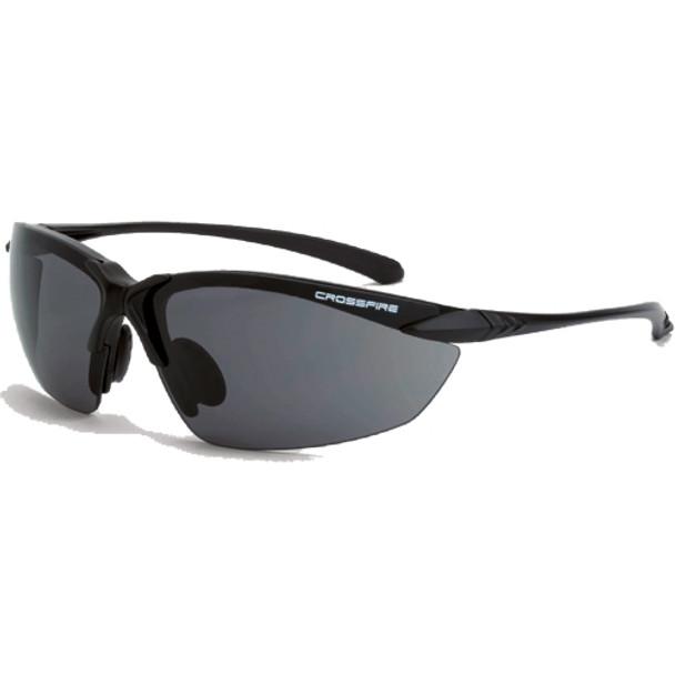 Crossfire Sniper Matte Black Half-Frame Smoke Lens Safety Glasses 921 - Box of 12