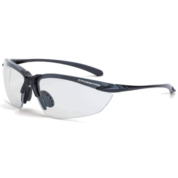 Crossfire Sniper Shiny Pearl Gray Half-Frame Indoor Outdoor Safety Glasses 9215 - Box of 12