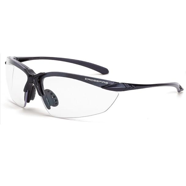 Crossfire Sniper Matte Black Half-Frame Clear Lens Safety Glasses 924 - Box of 12
