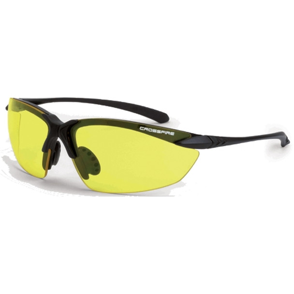 Crossfire Sniper Matte Black Half-Frame Yellow Lens Safety Glasses 925 - Box of 12