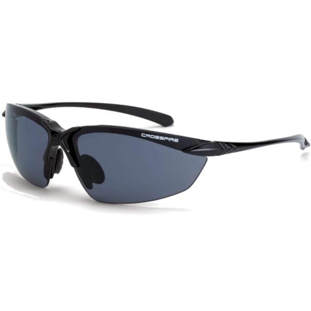 Crossfire Sniper Shiny Black Half-Frame Polarized Safety Glasses 9614 - Box of 12