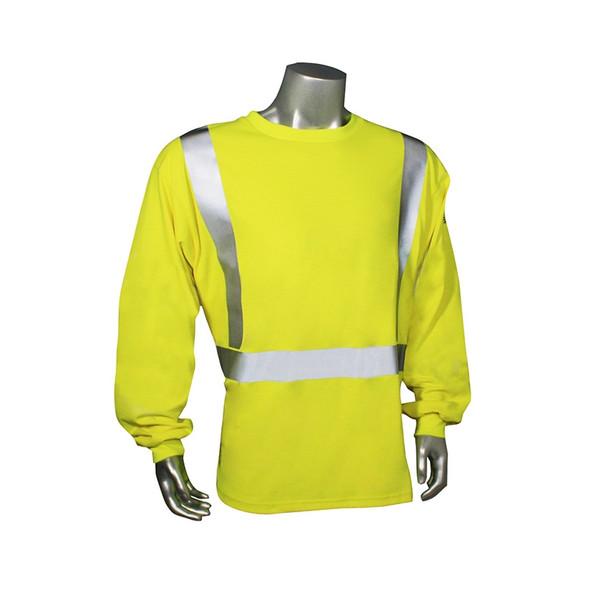 Radians FR Class 2 Hi Vis Green Made in USA Long Sleeve Shirt LHV-FR-TS-LS Front